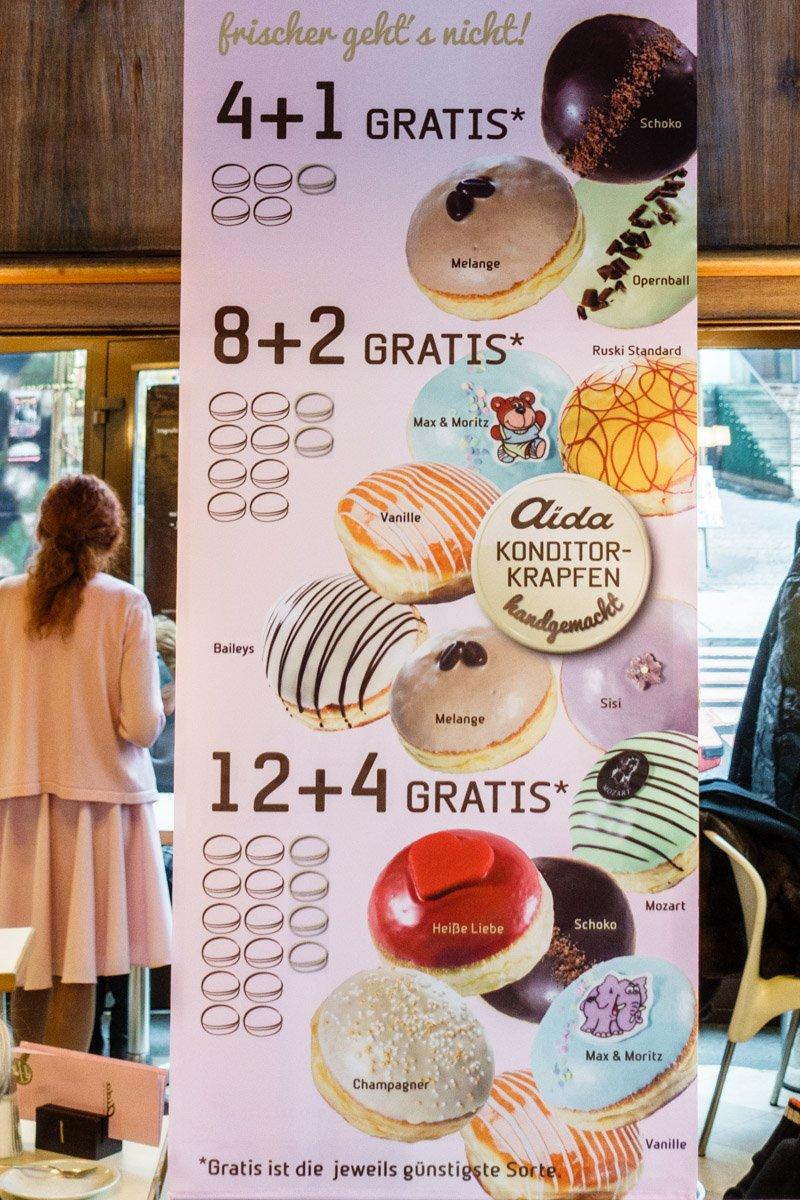 Krapfen (jelly donut) menu 2016/17 at Konditorei AIDA Wollzeile 28 1010 Wien (Vienna, Austria)