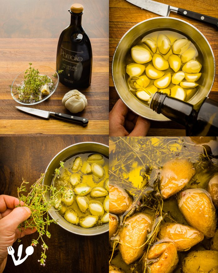 "Roast the cloves of garlic with fresh thyme in premium quality organic olive oil (here I used an over the top expensive and wonderful olive oil at low temperatures - see recipe below) to be blended into a succulent gravy for the Viennese ""Vanilla"" Steak."
