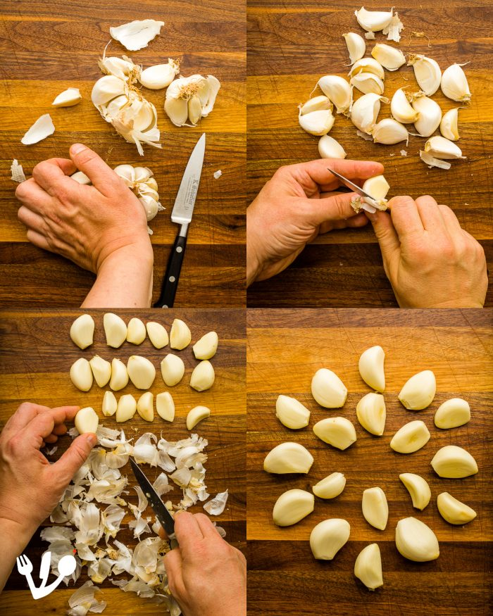 "There are many ways to peel garlic (The so-called ""super-easy-way"" doesn't work for me. Check out the famous Korean video! https://twitter.com/VPestilenZ/status/1140437217619390465 ). I'm used to the traditional method. We need exactly 18 cloves of garlic here to represent the numerical value of the Hebrew word for life ""hayim""  (חַיִּים)."